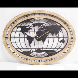 ChantalBrandO Wandklok World Map Modern Industrieel Design