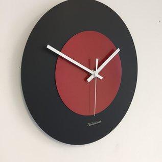 Klokkendiscounter Wandklok Black & RED modern Dutch Design