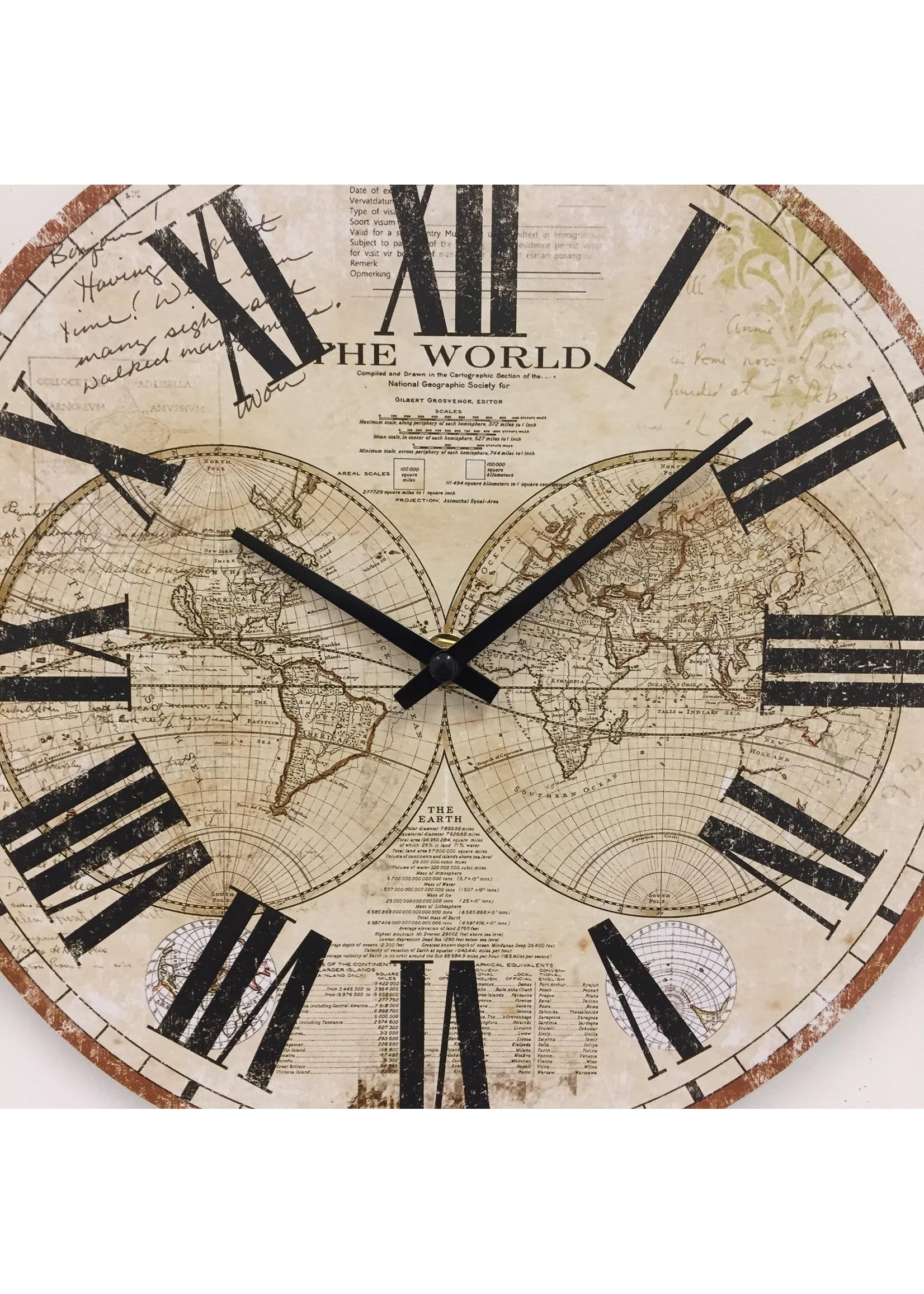 Klokkendiscounter Wandklok wereld retro design