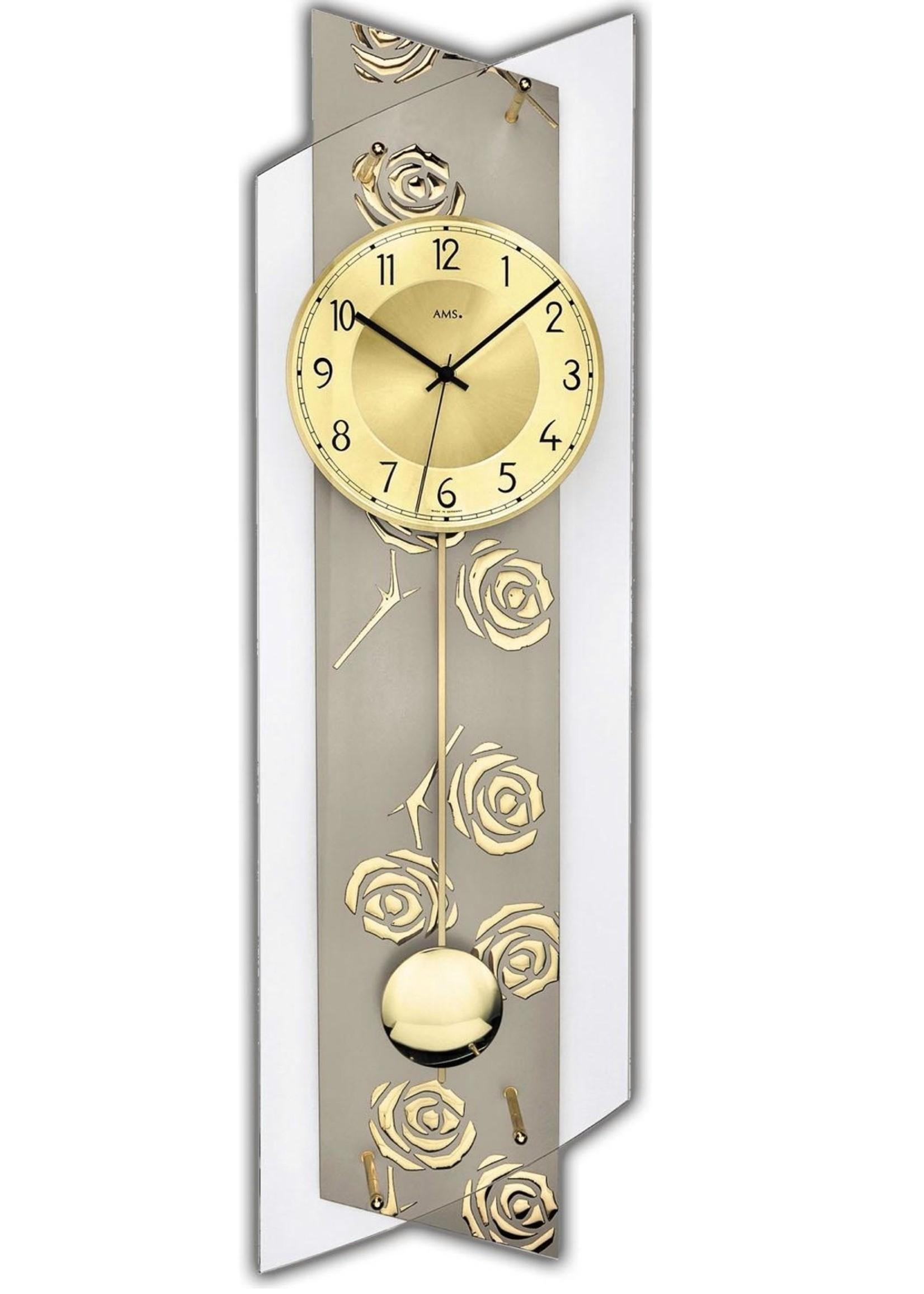 AMS AMS Wandklok GOLD FLOWER modern design