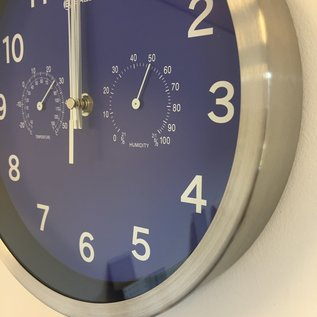NiceTime Wandklok Temperatuur en hygro meter  Modern Design Blauw