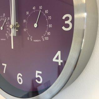 NiceTime Wandklok Temperatuur en hygro meter  Modern Design Paars