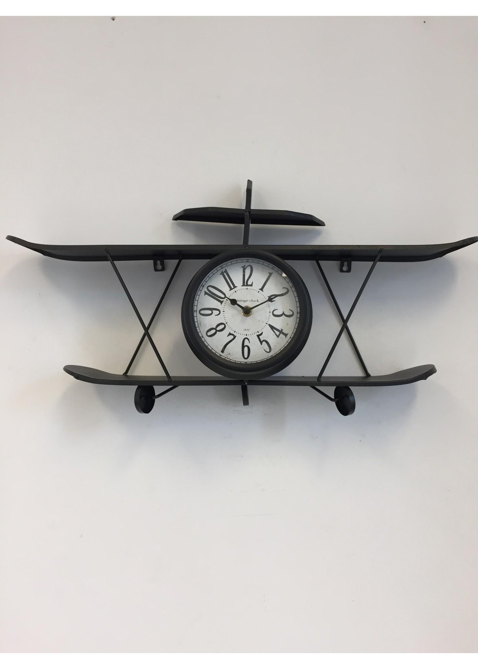 Vliegtuig wandklok Zwart modern design