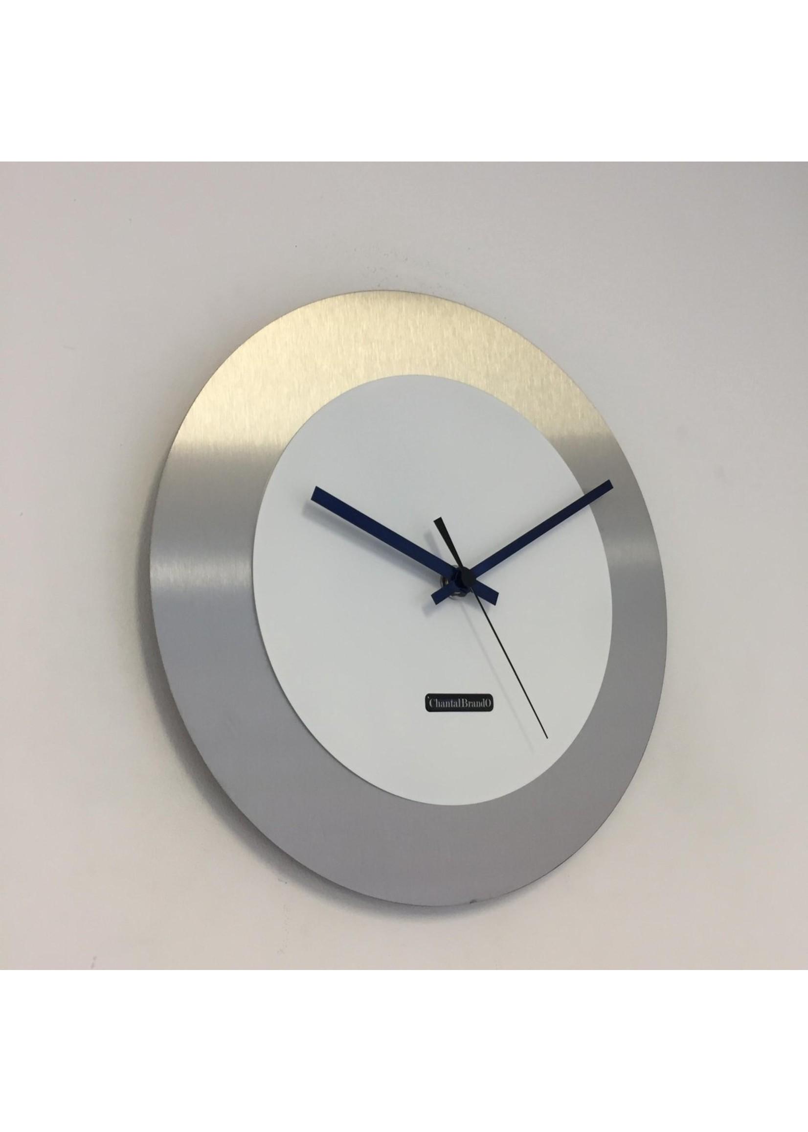ChantalBrandO WANDKLOK - Stil uurwerk – Handgemaakt – CHANTALBRANDO FIRENZE BLACK24 & BLUE POINTERS -- MODERN DESIGN