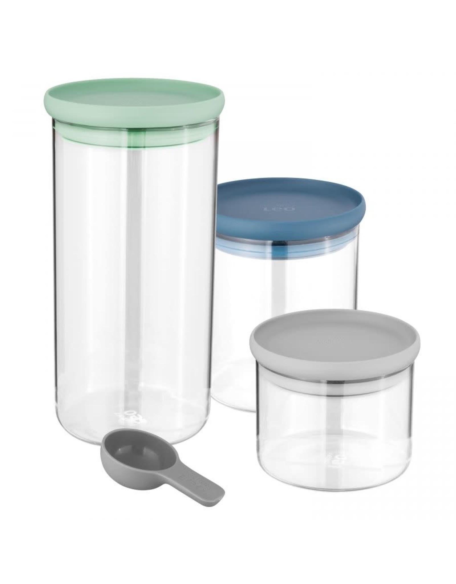 BergHoff. Leo Line 3-delige set glazen bewaardozen