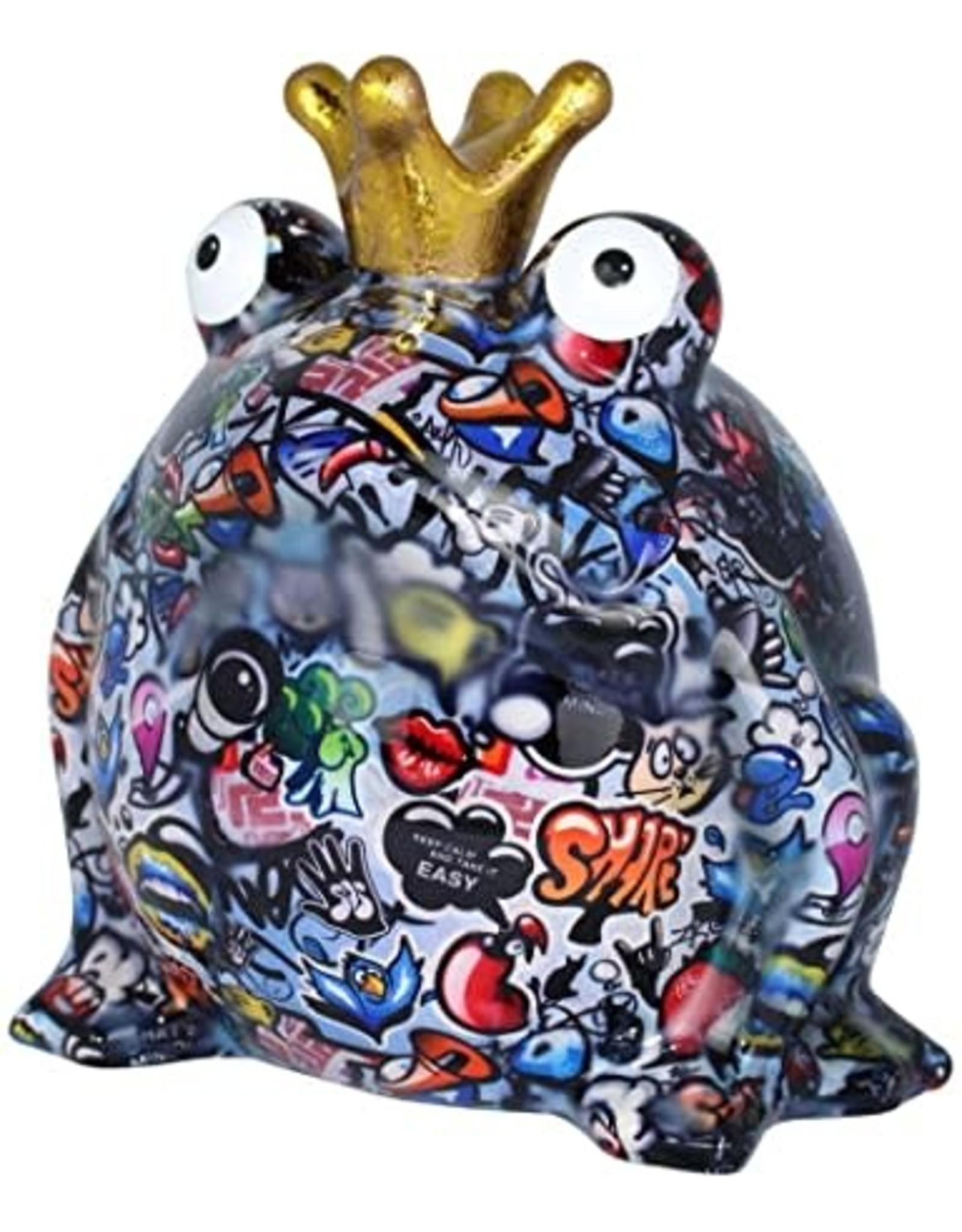 "pomme-pidou POMME-PIDOU. MONEY BOX FROG ""FREDDY"" - GRAFFITI - XL"
