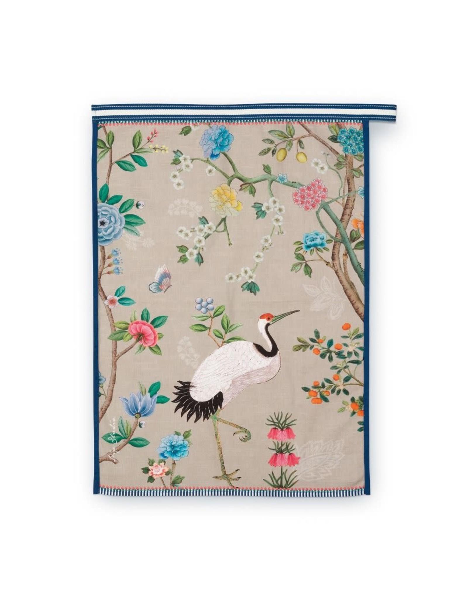 pip-studio Pip-Studio. Tea Towel Blushing Birds All Over Print Khaki 50x70cm