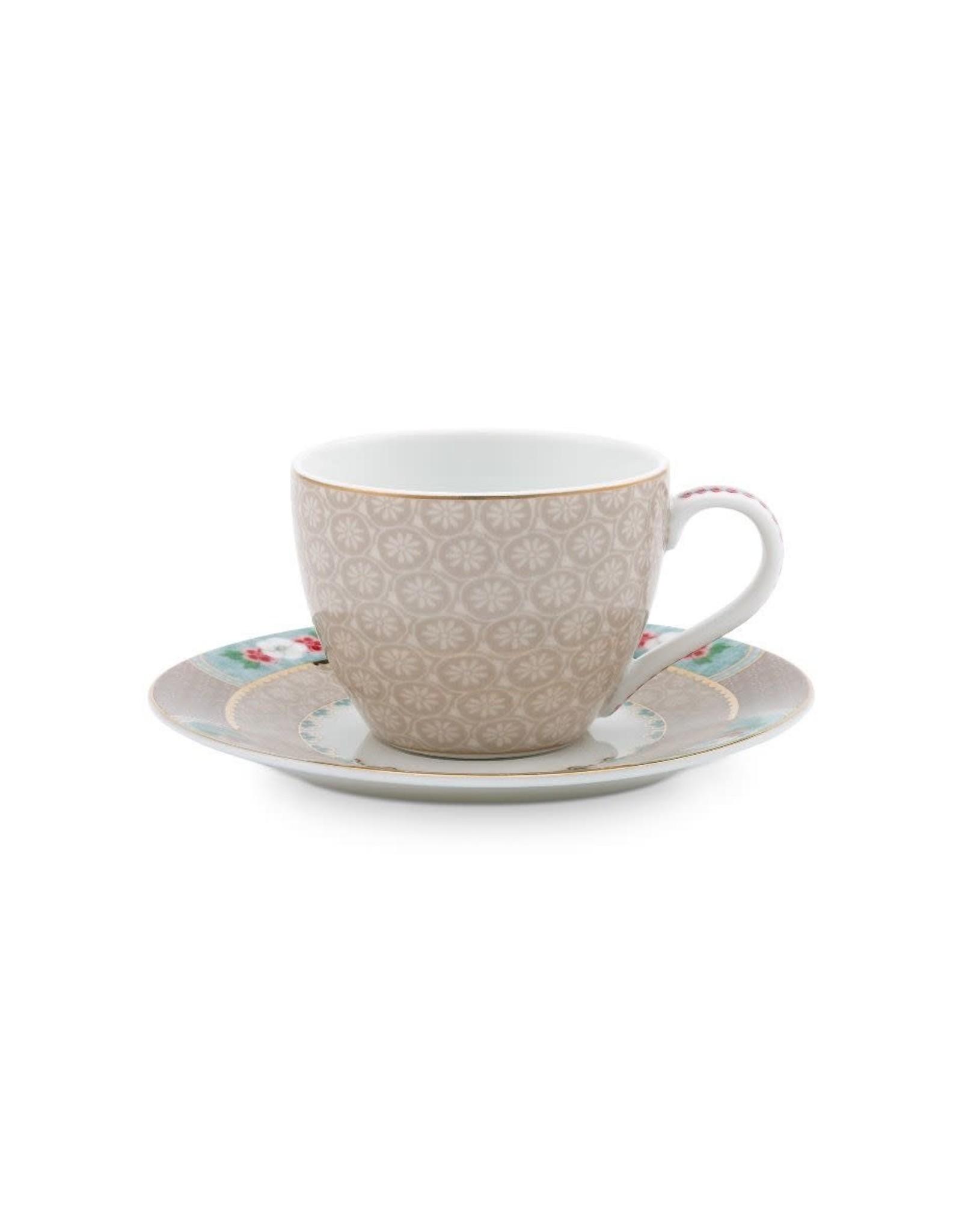 pip-studio Espresso Cup & Saucer Blushing Birds Khaki 120ml