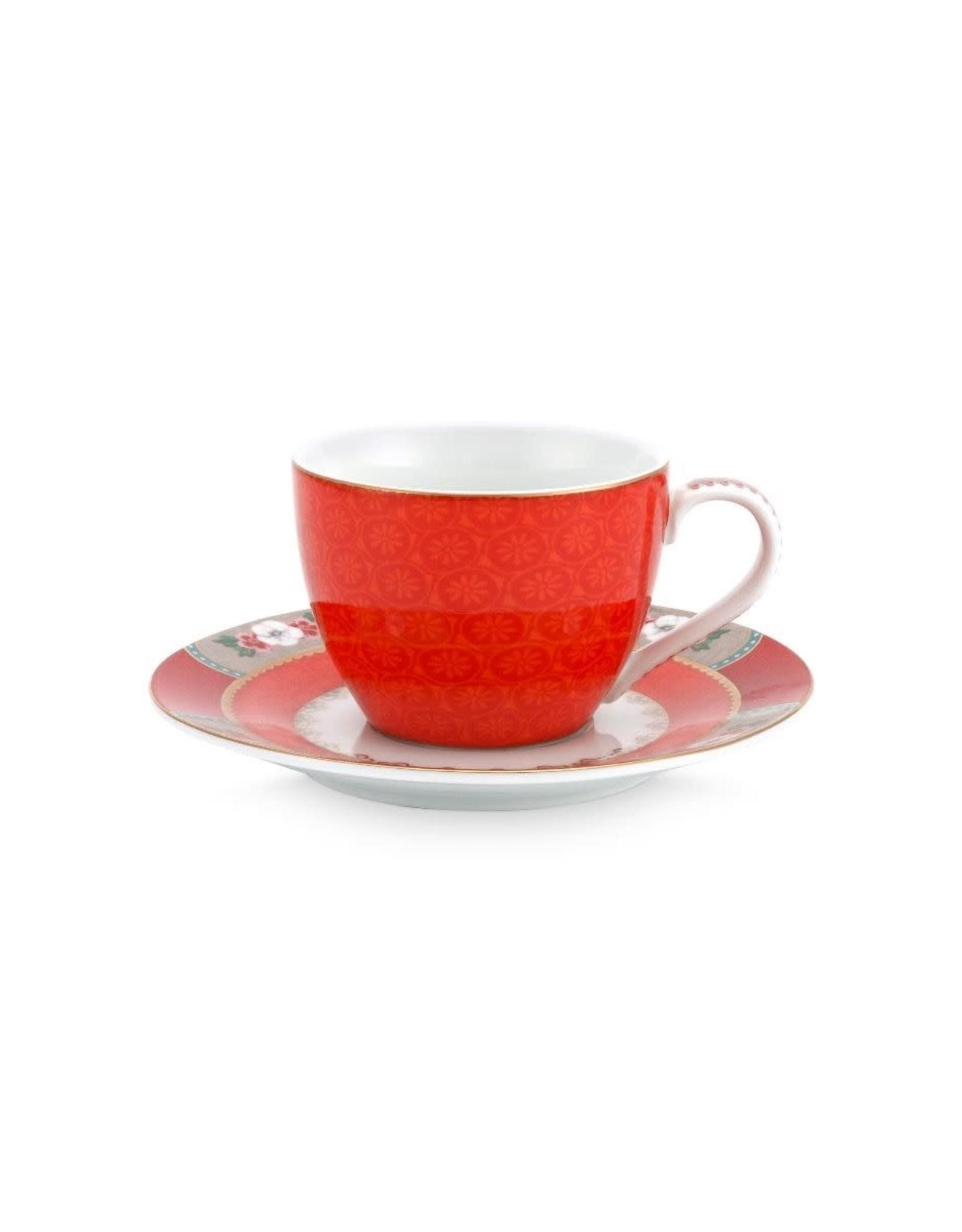 pip-studio Pip Studio. Espresso Cup & Saucer Blushing Birds Red 120ml