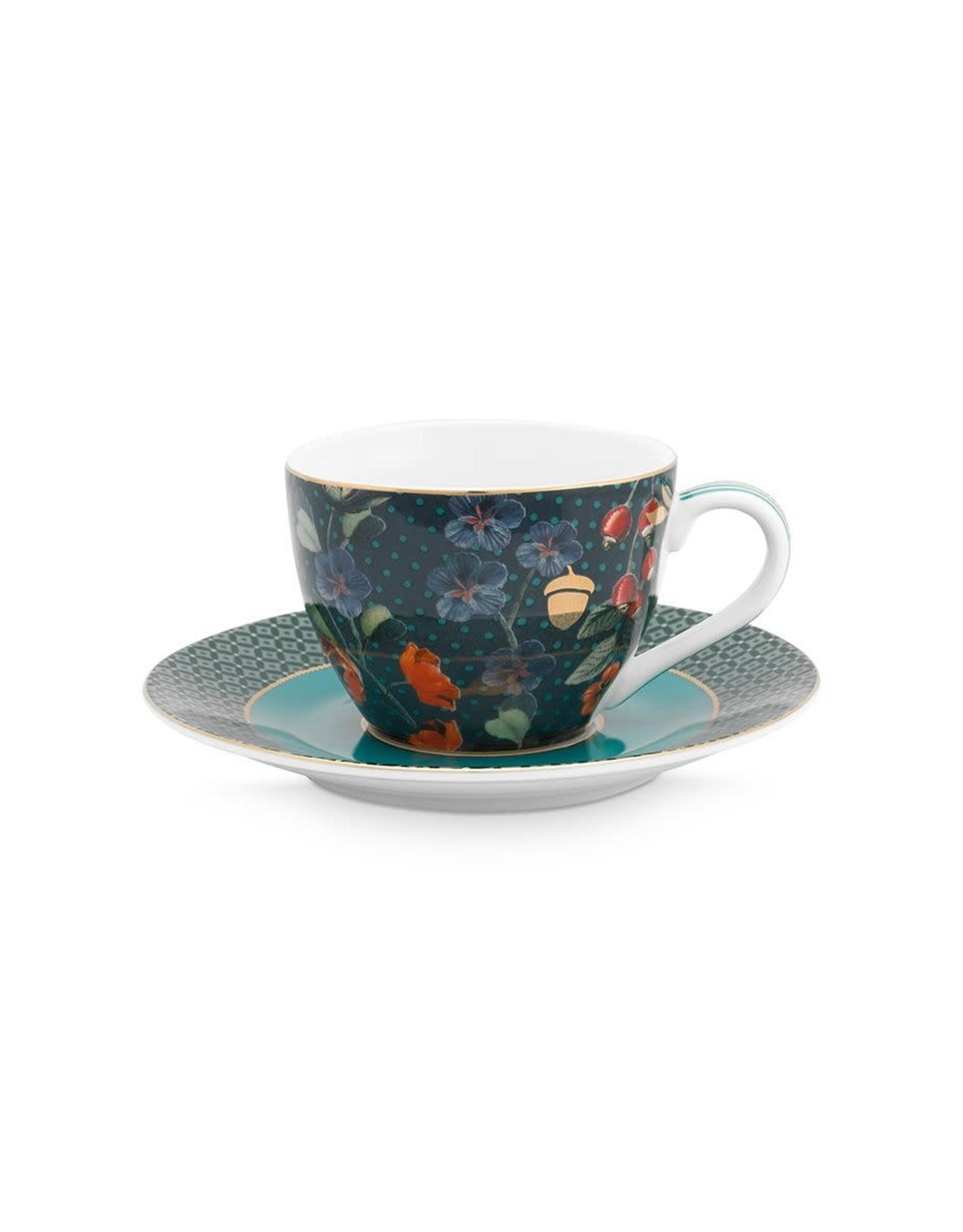 pip-studio Pip-studio. Espresso Cup & Saucer Winter Wonderland Overall Dark Blue
