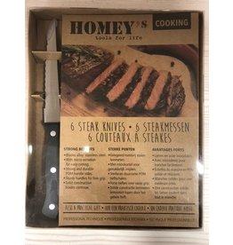 Homey's. Set van 6 steakmessen.
