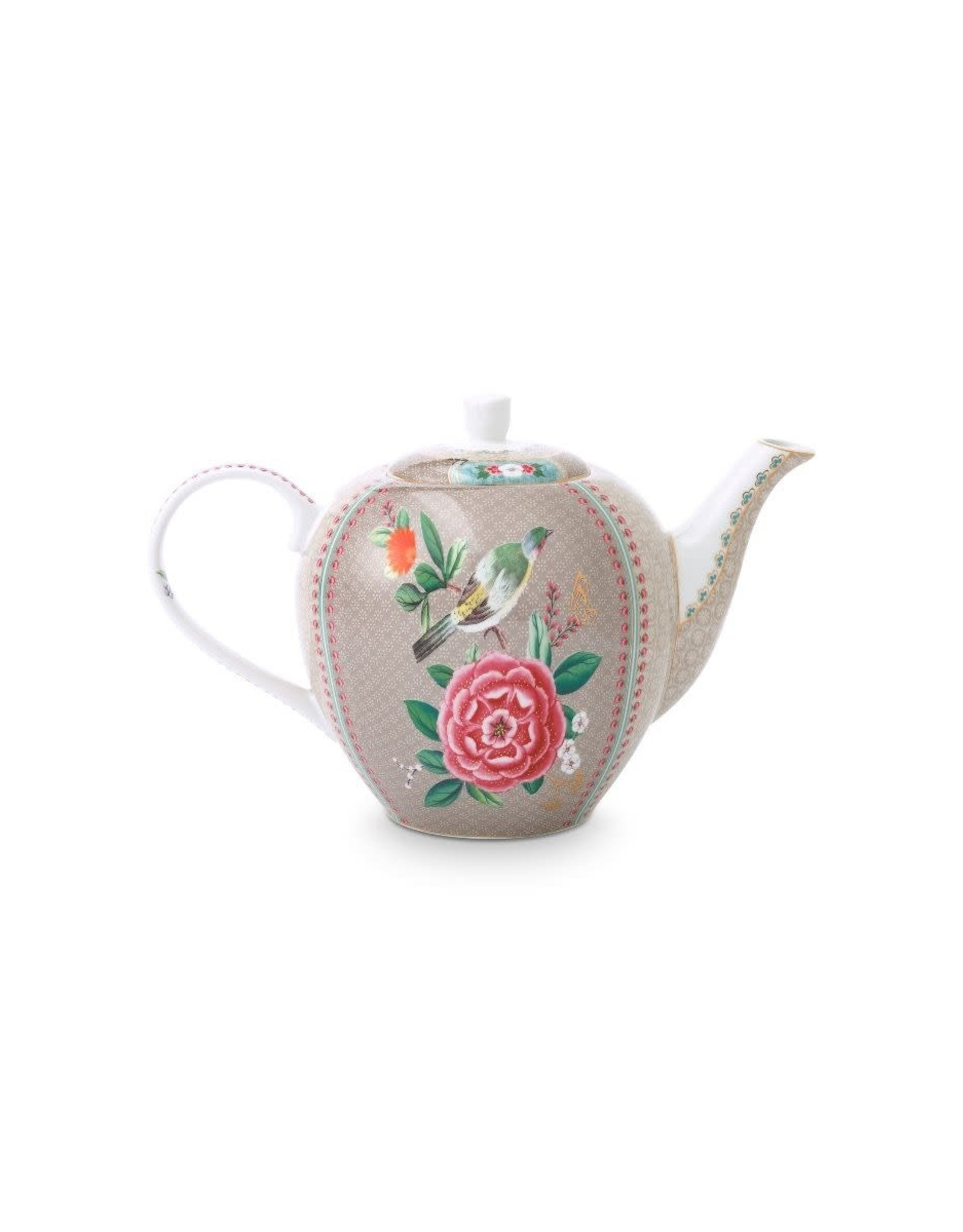 pip-studio Pip Studio. Tea Pot Large Blushing Birds Khaki 1.6ltr