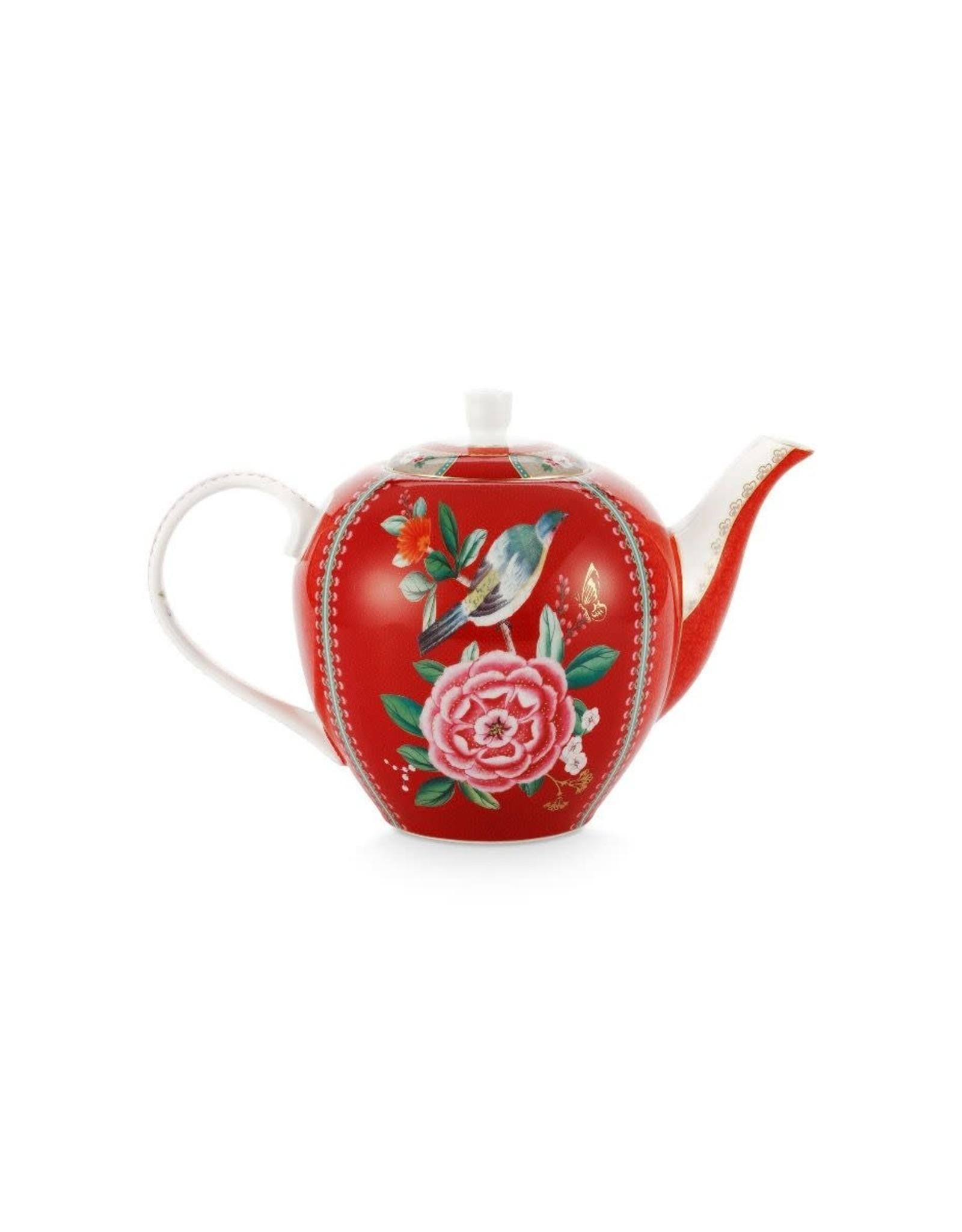pip-studio Pip Studio. Tea Pot Large Blushing Birds Red 1.6ltr