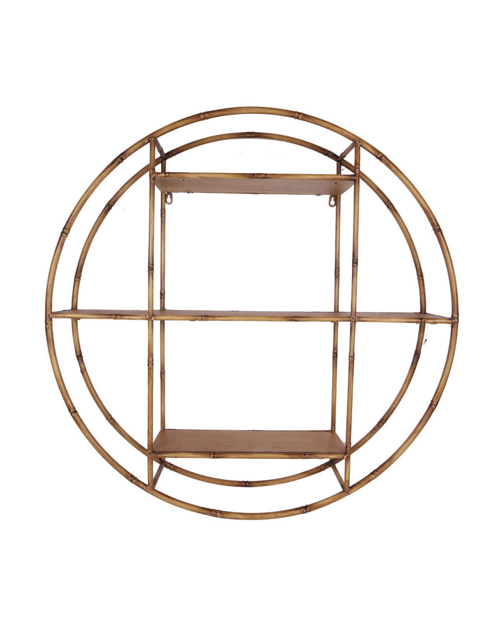 Wonen. Round Wall Shelf Metal Bamboo 80cm