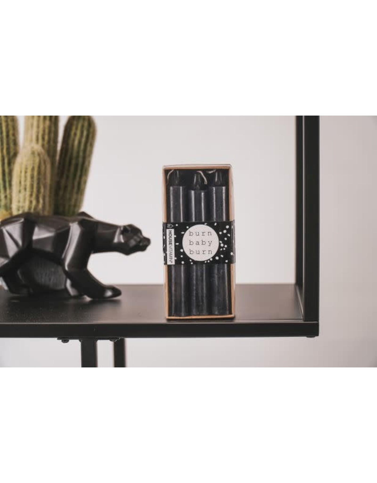 House vitamin HV Set van 6 kaarsen Zwart