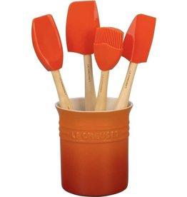 Le Creuset LE CREUSET - Siliconen - Lepelpot met 4 Premium spatels Oranje