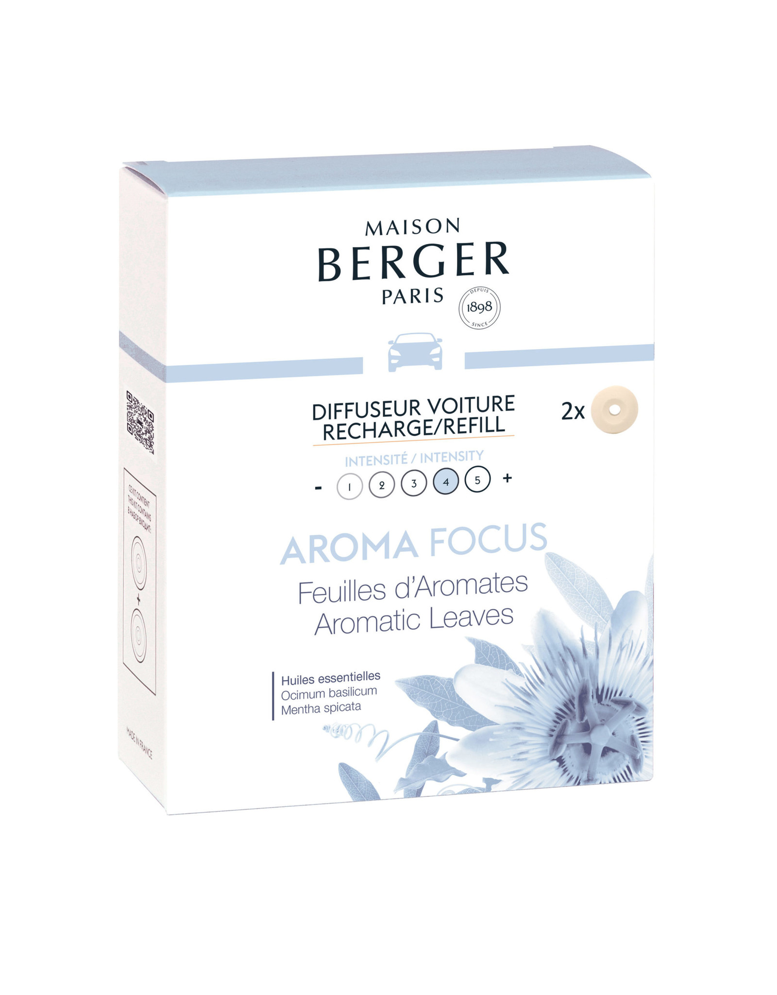 Maison Berger Maison Berger. Autoparfum navulling 2 stuks Aroma Focus - Feuilles d'Aromates / Aromatic Leaves