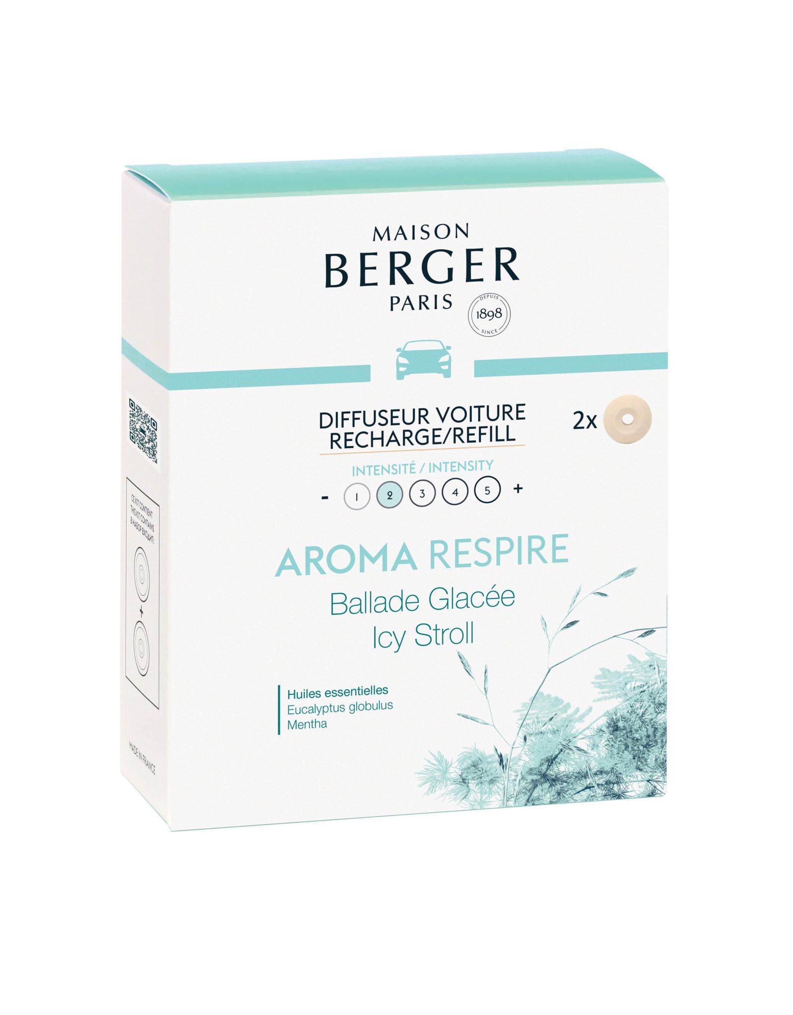 Maison Berger Maison Berger. Autoparfum navulling 2 stuks Aroma Respire - Ballade Glacée / Icy Stroll