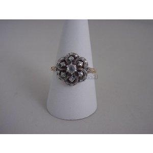 Antieke gouden ring bezet met roosdiamanten, maat 20.25