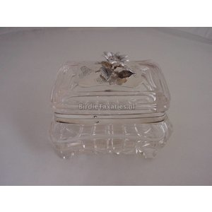 Kristallen koekdoos afgezet met zilver en zilveren beslag, Den Haag 1843
