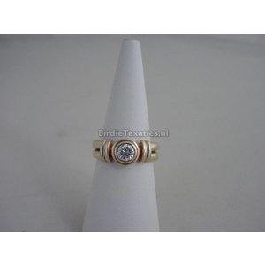 Gouden solitairring bezet met een briljant geslepen diamant (0,45ct) Wesselton, VVS