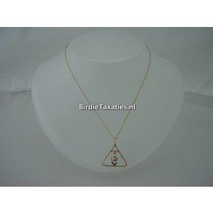 Gouden hanger met amethyst, doublé collier