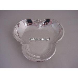 Zilveren presenteerschaaltje, klaverblad-model