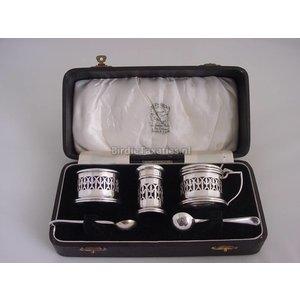 Engels zilveren specerijenset in etui