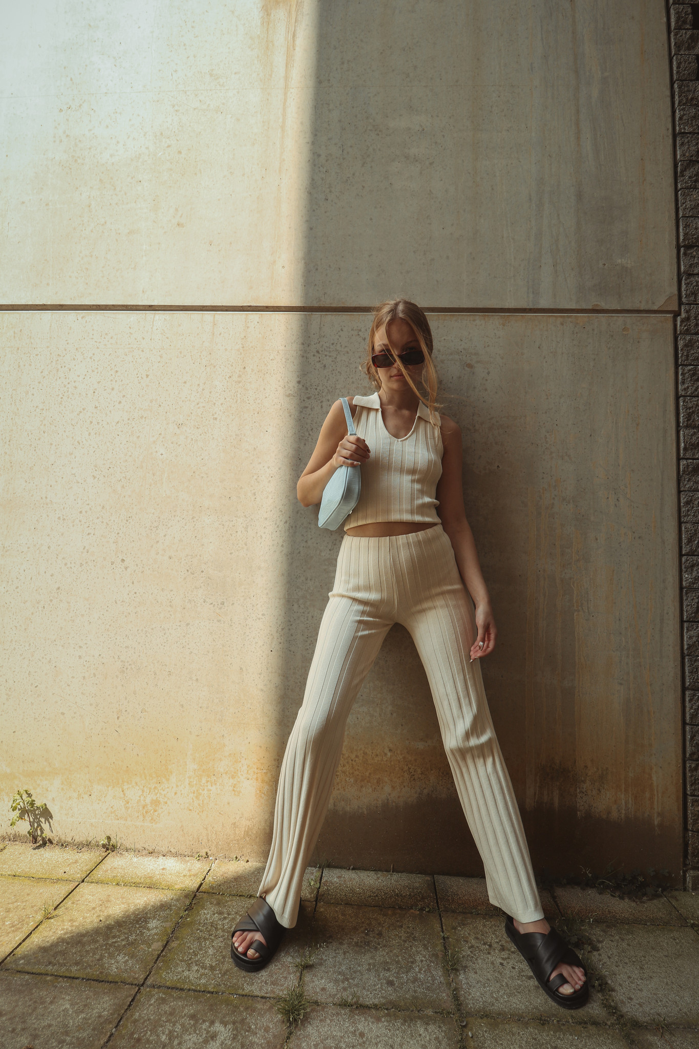 Dale Ribbed Knit Trousers-1