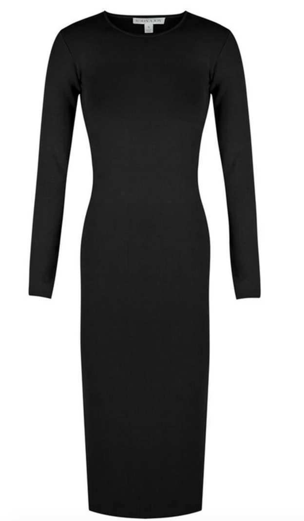 RR Long sleeve backless midi dress