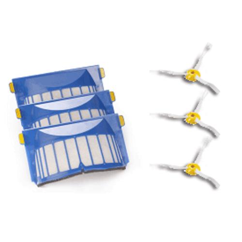 iRobot Roomba 500/600 Aerovac filter + sidebrush (3 stuks)