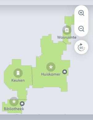 Kaart in de app gemaakt door een robot