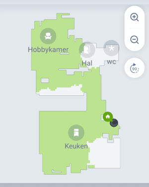 Kaart in app met beschadigde ruimtes
