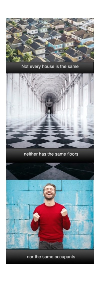 picture telling there are different houses, people and floors