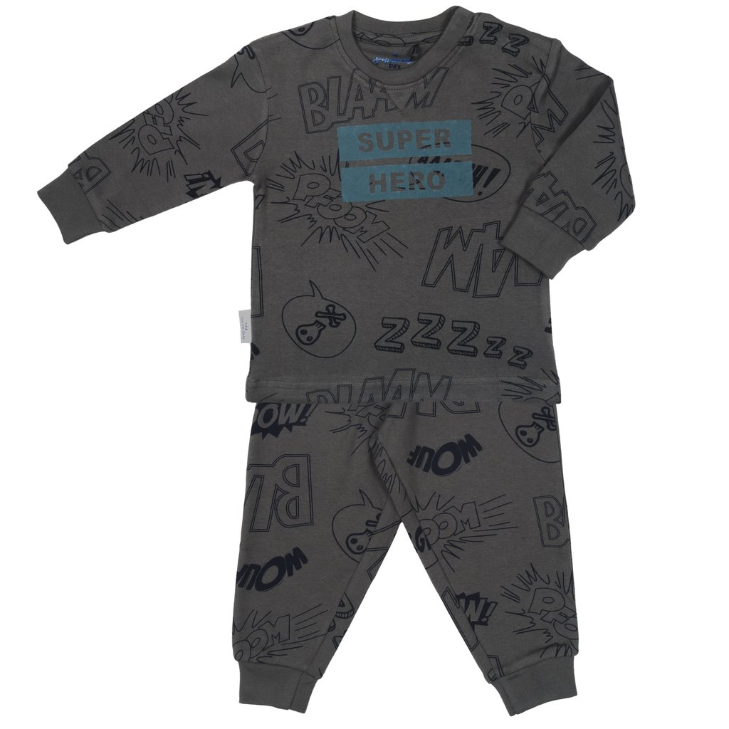 Frogs and Dogs PJ's Superheld Pyjama Antraciet Frogs and Dogs PJ's