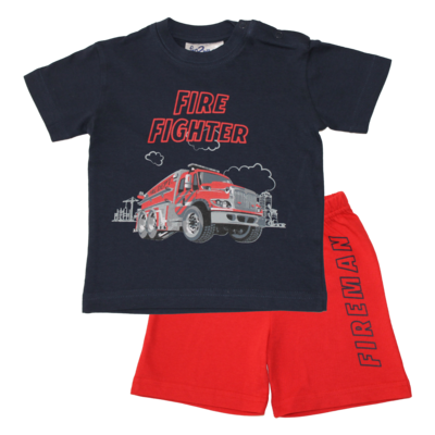 Fun2Wear Fire Fighter Shortama Fun2Wear Jongens Blauw
