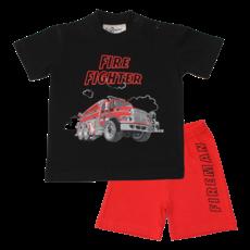 Fun2Wear Fire Fighter Shortama Fun2Wear Jongens Zwart | Pyjama Korte Mouw