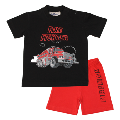 Fun2Wear Fire Fighter Shortama Fun2Wear Jongens Zwart