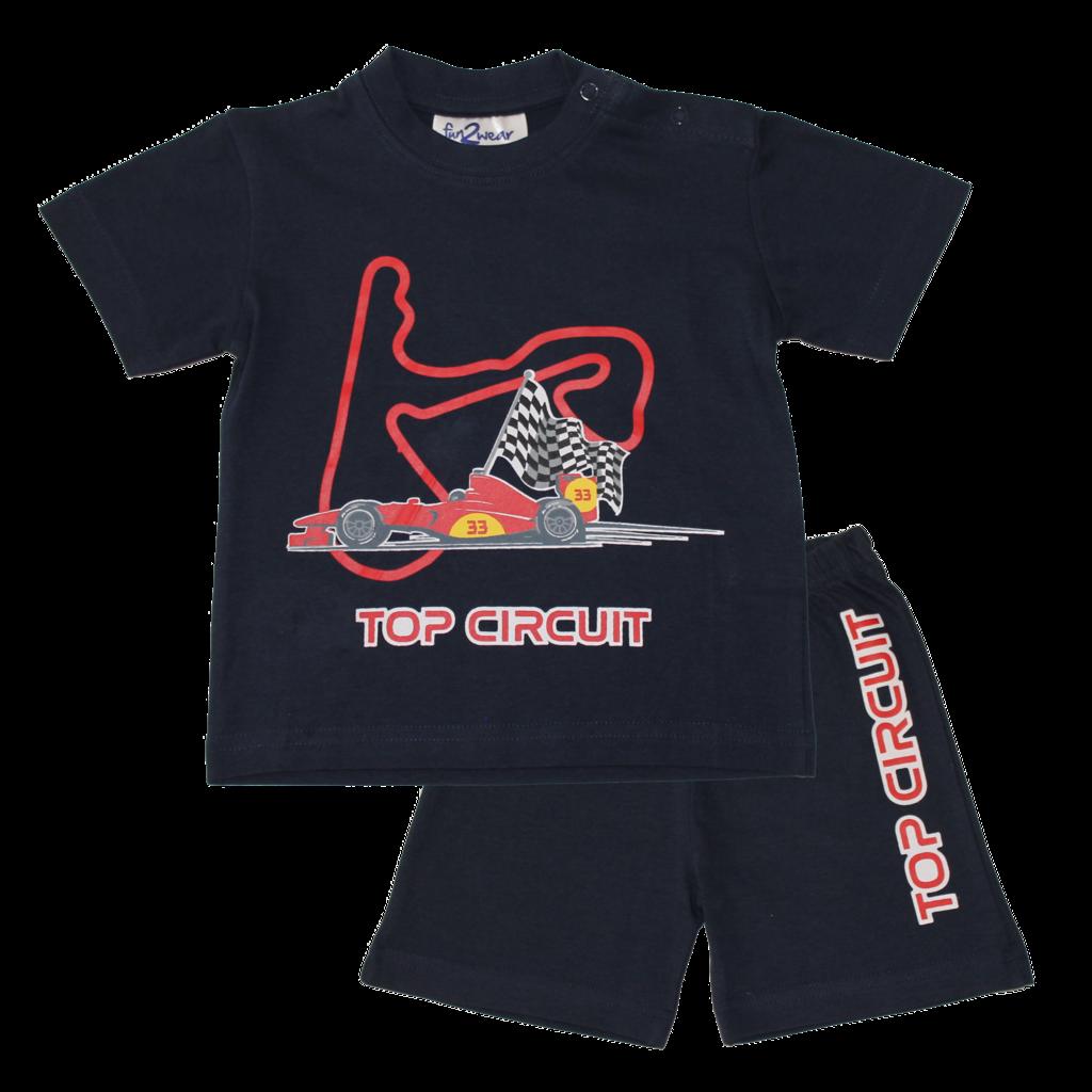Fun2Wear Top Circuit Shortama Fun2Wear Jongens Meisjes Navy