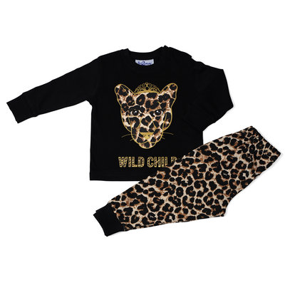 Fun2Wear Wild Child Pyjama Fun2Wear Meisjes Zwart