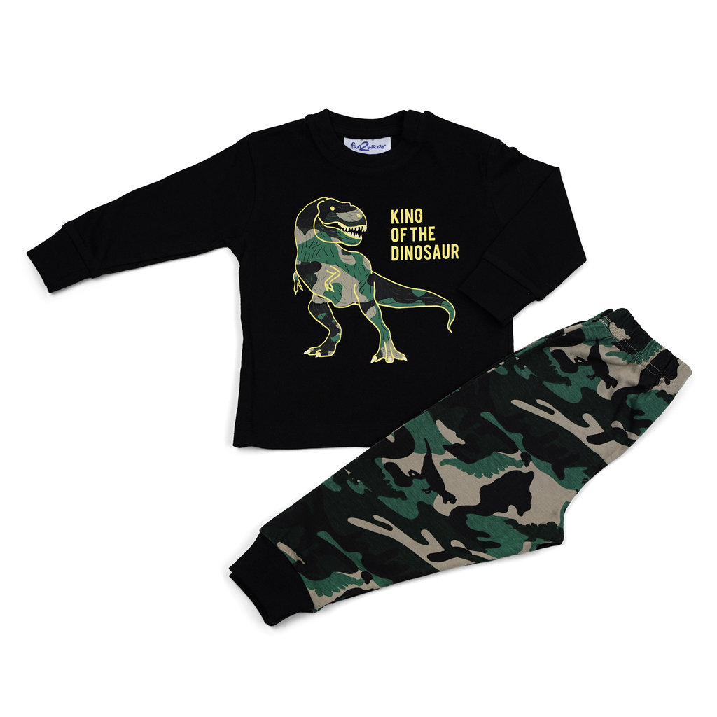 Fun2Wear Pyjama Dino Zwart