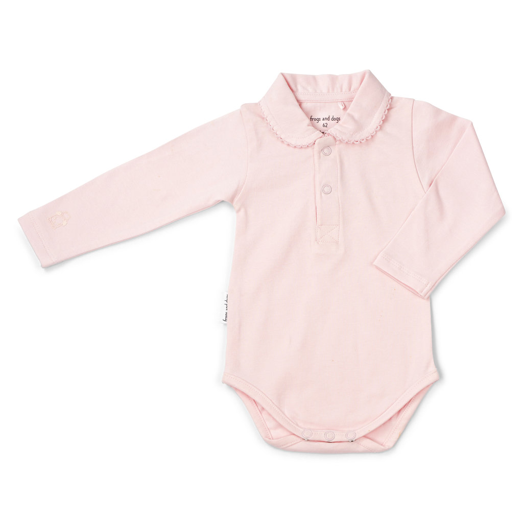 Frogs and Dogs Polo romper newborn roze Frogs and Dogs