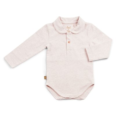 Frogs and Dogs Polo romper effen roze F&D