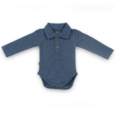 Frogs and Dogs Polo Romper Effen Navy Baby