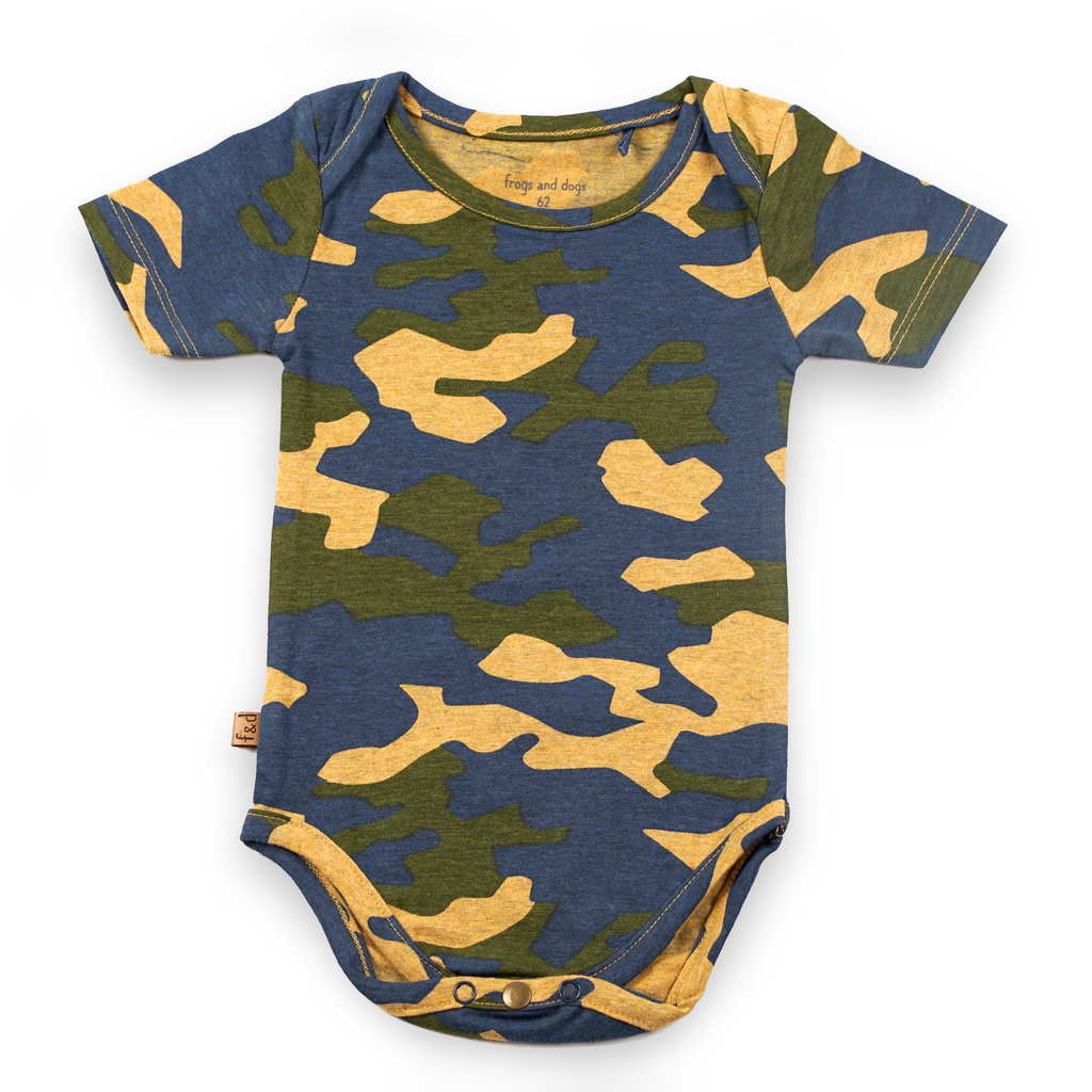 Frogs and Dogs Romper Camo Camouflage Baby
