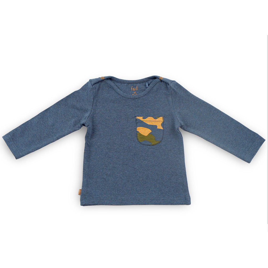 Frogs and Dogs Shirt Zakje Camo Navy Baby