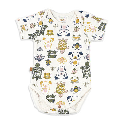 Frogs and Dogs Romper Friends Offwhite