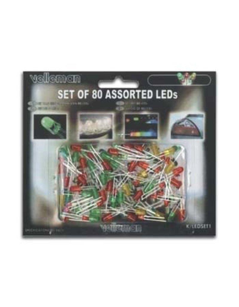 Velleman Velleman Set of 80 Assorted LED's K/LED1