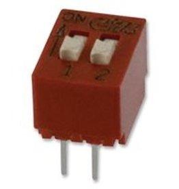 BD02 - DIP / SIP Switch, 2 Circuits, Slide, Through Hole, SPST, 24 VDC, 25 mA