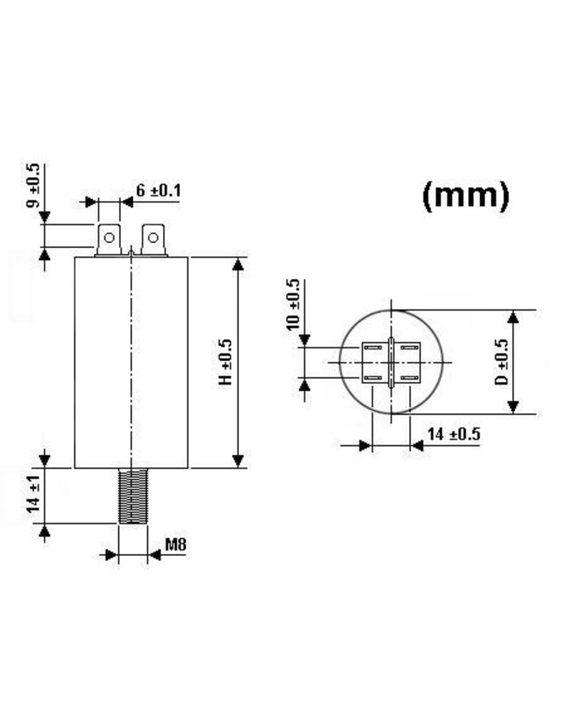 Velleman 8µF 450V Motor Run Capacitor Velleman